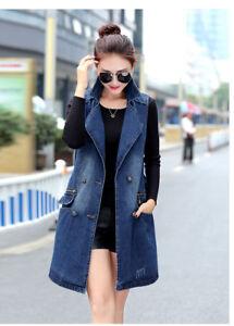Women S Girl Vest Denim Waistcoat Sleeveless Hip Long Coat Jacket