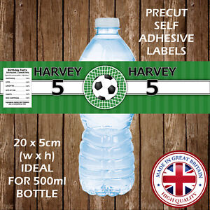 Image Is Loading 5x PERSONALISED FOOTBALL WATER BOTTLE LABELS BIRTHDAY PARTY