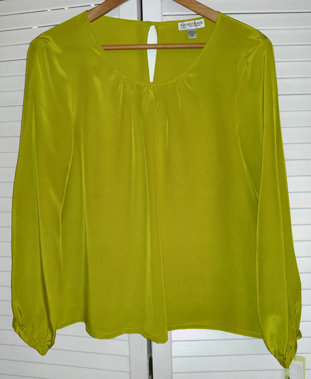 Austin Reed Lime Grün Gelb Silk Blouse Top Shirt Größe 16 NWT Long sleeve