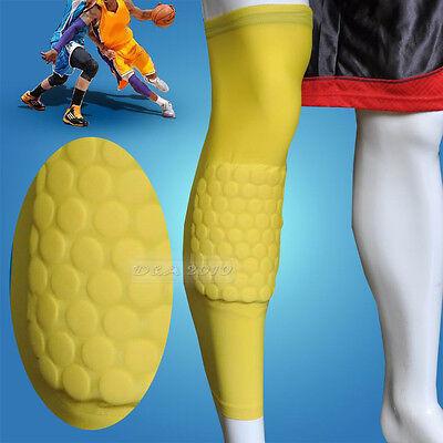 Honeycomb Pad Crashproof Antislip Basketball Leg Knee Long Sleeve Yellow M L XL