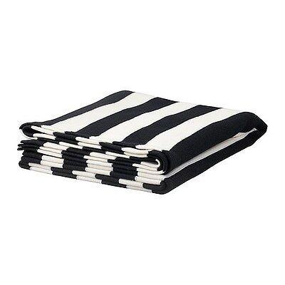 IKEA Eivor Black White Striped Throw Blanket 170x125cms NEW