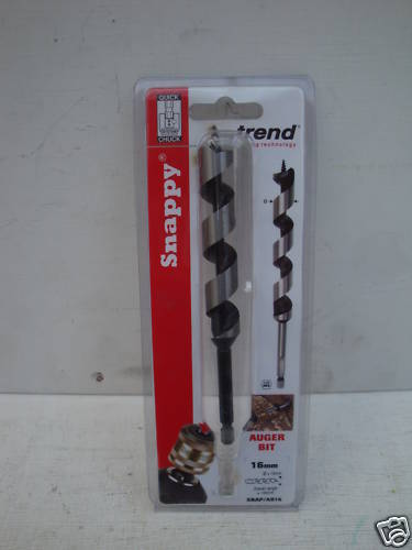 """TREND SNAPPY 16 mm x 155 mm Wood Auger Drill Bit 1//4/"""" Hex SNAP//AB//16"""