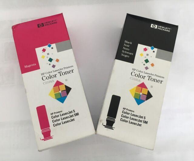 HP Hewlett Packard Color Toner C3105A Black / C3104A Magenta ColorLaserjet 5M