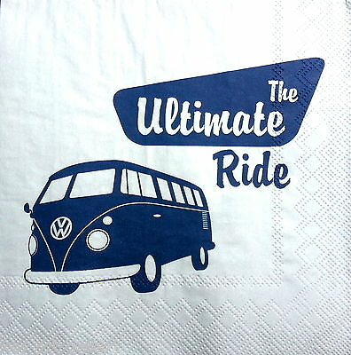 4 Vintage Table Paper Napkins Party Lunch Decoupage Decopatch Volkswagen WV 1