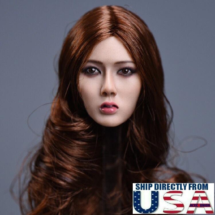 1 6 Asian Female Head Sculpt LONG BROWN HAIR For 12  PHICEN SUNTAN Figure U.S.A.