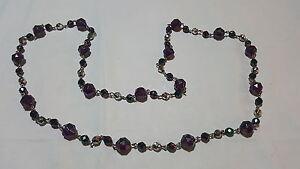Purple amethyst colour glass vintage Art Deco antique long necklace / sautoir