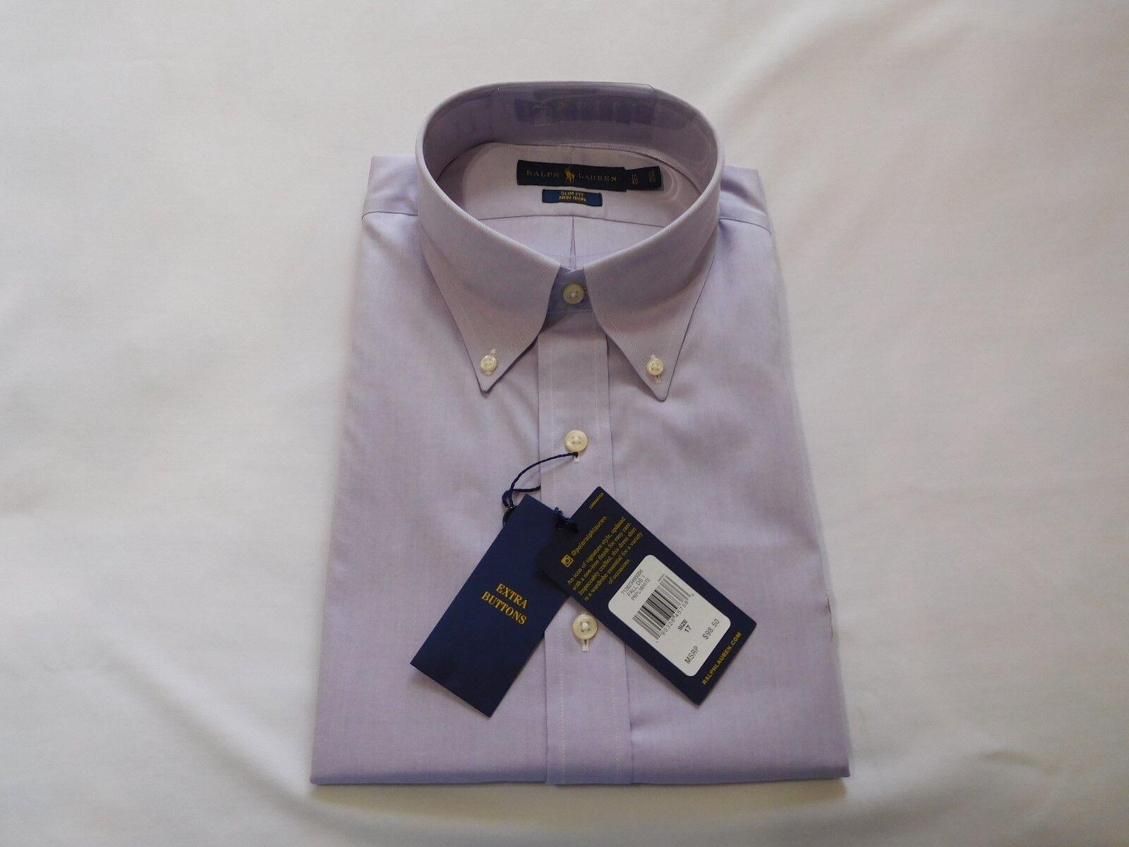 Ralph Lauren Slim-Fit Non-Iron Oxford Shirt 17.5  - Light Purple - NEW