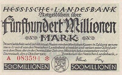 1124 - Allemagne, Hessische Landesbank, 500 Millionen Mark, 1.10.1923, Neuf