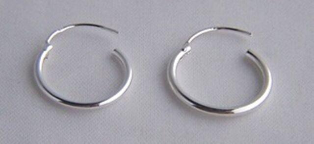 925 Sterling Silver 15mm 16mm Small Top Hinged Hoop Sleeper Earrings Nose Ring