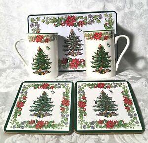 Spode Christmas Tree Poinsettia 5 Piece Set Mugs Coasters ...