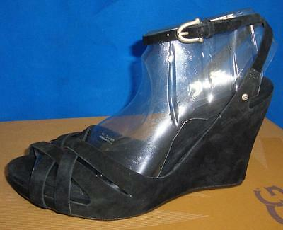 ee716234ad7 UGG Australia VIOLET Black Suede Ankle Strap Wedge Sandals Size US 7 NIB  #1772 | eBay