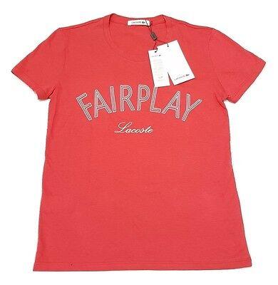 Lacoste Women/'s Fairplay T-shirt à manches courtes femmes Haut coton tee-shirt RRP £ 60 rouge