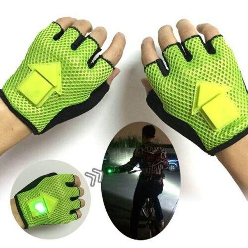 LED Bicycle Cycling Gloves Turn Signal Turn Half Finger Gravity Sensor Portable