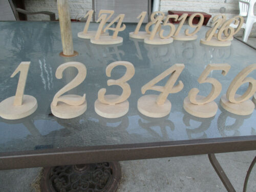 Set of 15 wood freestanding table numbers wedding decor engraved