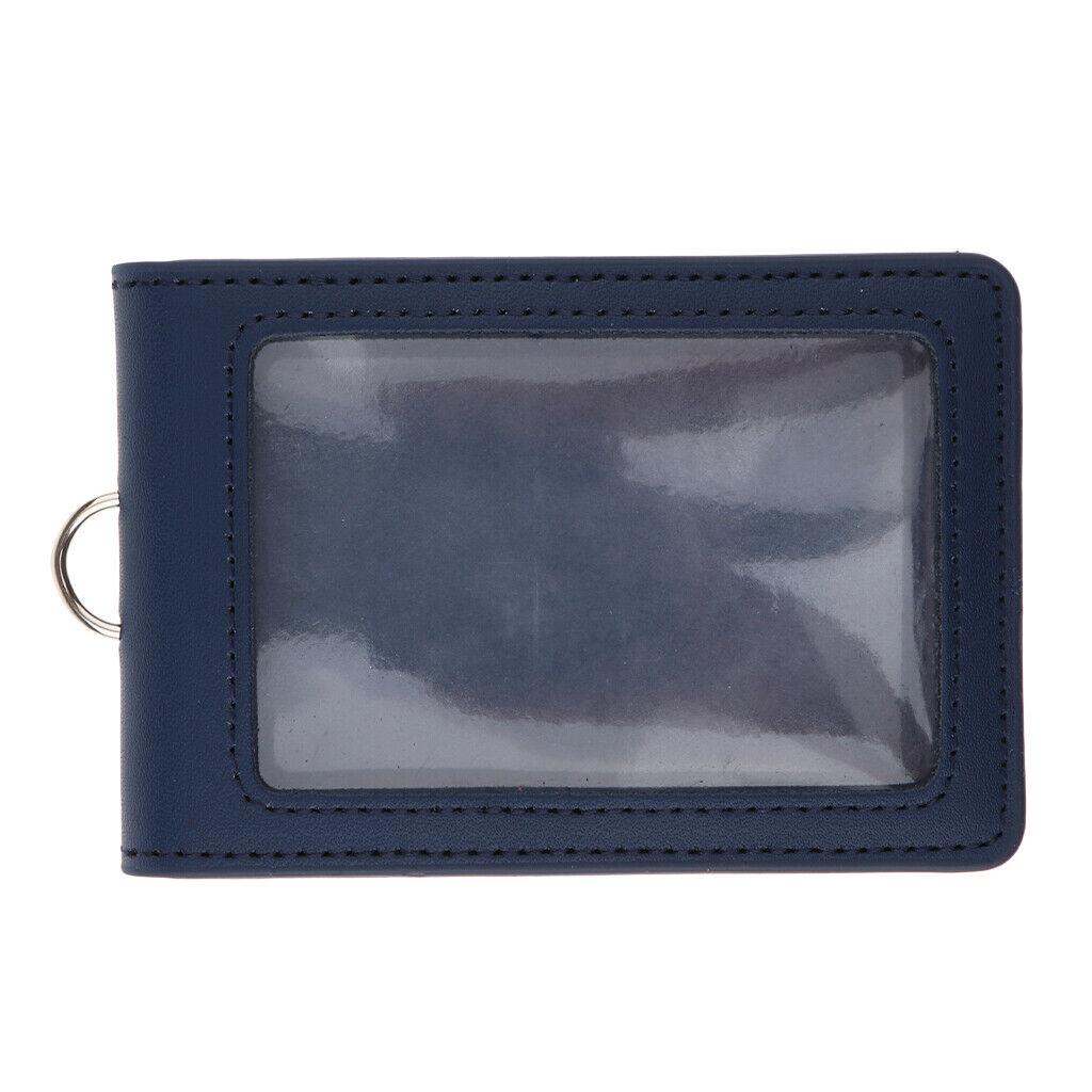 porte-cartes en cuir pu porte-badge style vertical style professionnel bleu