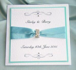 Wedding Invitation set turquise  bue with rsvp dawn