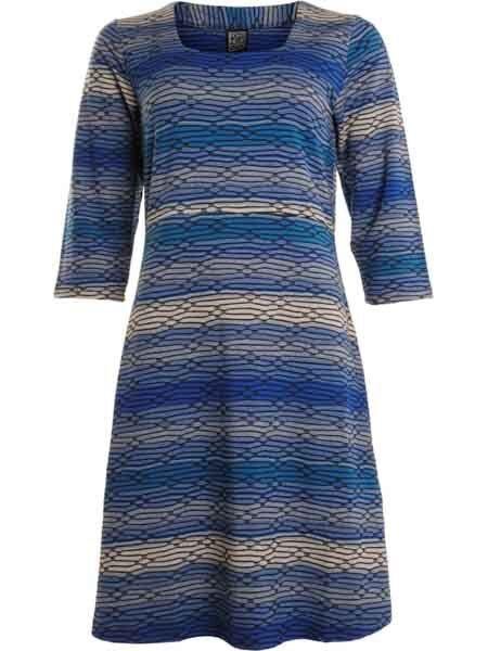 Kleid Jerseykleid von Pont Neuf Gr. 50/52 blau wollweiss Lagenlook Dänemark