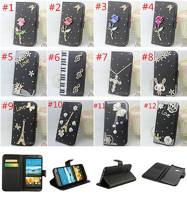 Bling Crystal Diamonds leather wallet flip slot book Case Cover Skin for Sony #2