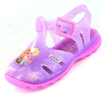 Girls Frozen Jelly Sandals SIZE 3 4 5 6 7 8 Anna Elsa Jellies Lilac Pink Buckle