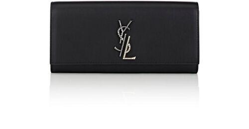 Negro 100 Yves Auth De Bolso Crystal Saint Negro Laurent Clutch Kate Cuero qBOWwSTxx7