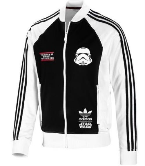 %ADIDAS ORIGINALS STAR WARS FORCE STORMTROOPER BLACK WHITE TRACK TOP NEW JACKET