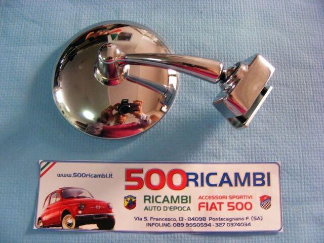 SPECCHIO SPECCHIETTO RETROVISORE FIAT 500 F L R 126 TONDO CROMATO CON MORSETTO