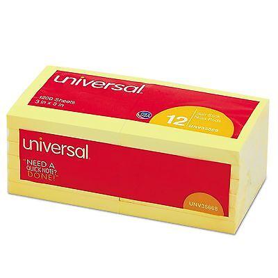 """Universal Standard Self-Stick Notes, 3"""" x 3"""", Yellow, 100-Sheet Pads, 12 Pads"""