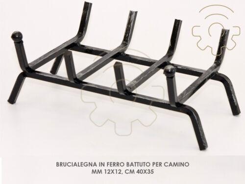 Brucialegna in ferro batturo per camino mm 12 x 12 cm 40x35