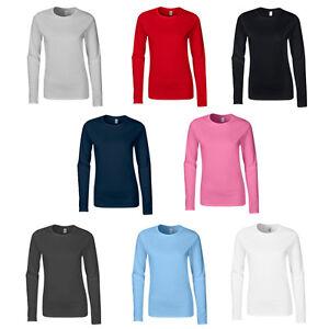 c73b94338f9de New GILDAN Womens Ladies Soft Style Cotton Long Sleeve T Shirt in 8 ...