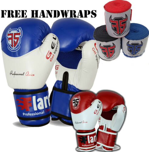 Flare Boxing Gloves KickBoxing Thai Sparring Punch Bag Free Hand Wraps MMA Mitts