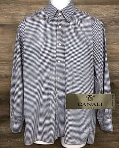 CANALI-1934-Men-039-s-Blue-Gray-Gingham-Long-Sleeve-Button-Down-Designer-Shirt-L