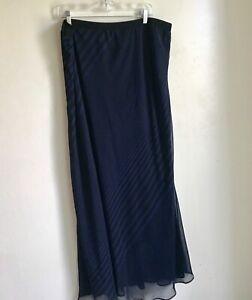 Pleione-Multi-Stripe-Blue-Black-Sheer-Lined-Maxi-Skirt-Size-1X-EUC