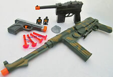 3x Military Toy Machine Gun MP 40 Schmeisser Dart Rifle Mauser Pistol & 9MM Dart