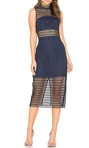 Keepsake-Women-s-All-Night-Lace-Midi-Dress-in-Navy-Blue-Size-Medium