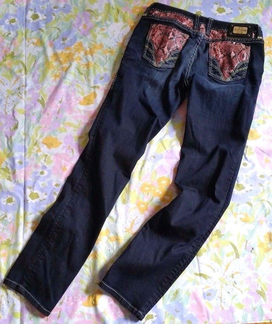 COOGI Womens Denim Jeans Pants Red Faux Snake Trim Sz 7 8