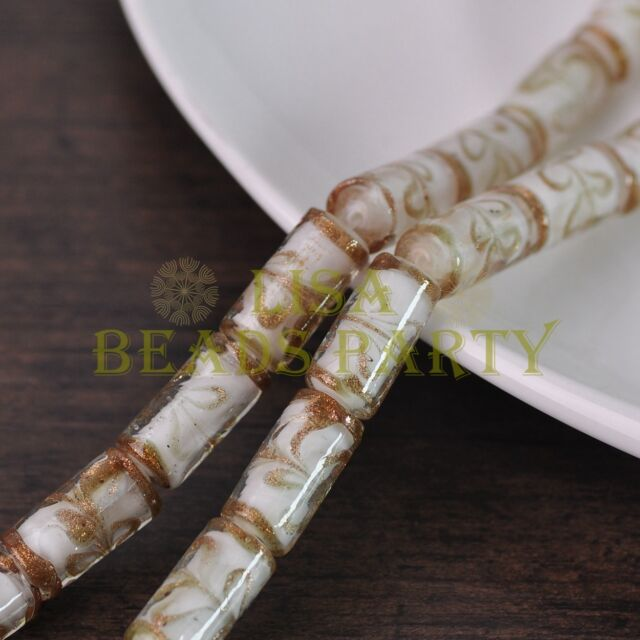 5pcs 20x10mm White Tube Cylinder Shape Lampwork Glass Loose Spacer Beads