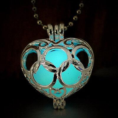 Charming 9 Designs Hollow Round Heart Key Flower Metal Box Glow in Dark Necklace