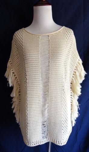 Fringe Knit Brand Maglione Cream Crochet Poncho M Lucky Beach Trim Open Boho f4g6qgUOw