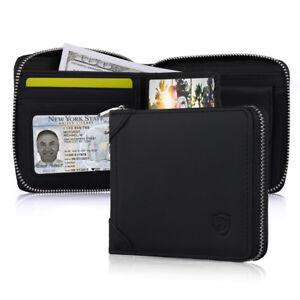 Premium RFID Protection Genuine Slim Leather Wallet Purse For Men//Husband-Black