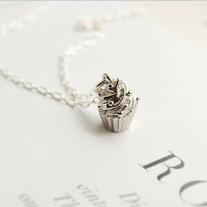 Cupcake-Cup-Cake-Charm-Necklace-925-Sterling-Silver-Chain-Jewellery-UK