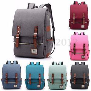 AU-Men-Women-Shoulder-Canvas-Backpack-Rucksack-School-Travel-Laptop-College-Bag