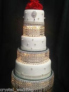 Image Is Loading Diamante Rhinestone Wedding Cake Tower Design Lights