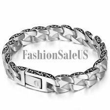 Men's Vintage Gothic Matte Stainless Steel Buckle Cool Bracelet Chain Bangle New