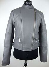 Michael KORS Giacca di Pelle Donna Giacca Lammnappa LEATHER JACKET GRIGIO ARGENTO GRS NUOVO