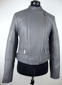Details zu MICHAEL KORS Lederjacke Damen Jacke Lammnappa Leather Jacket Grau Silber GrS NEU