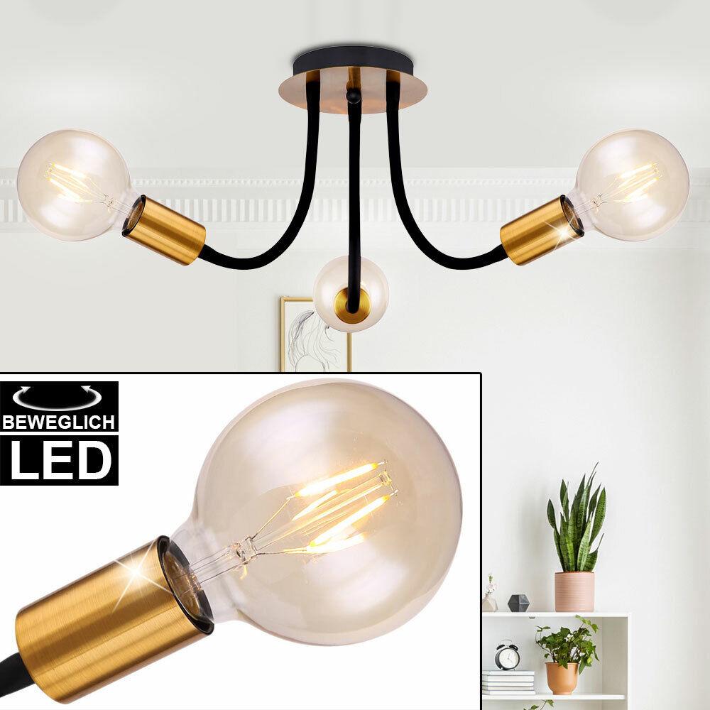 Plafonnier LED schwarz Gold éclairage de chambre à coucher résidentiel lampe flexo