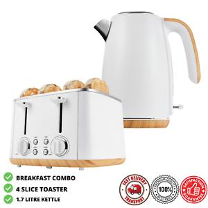 White-4-Slice-Toaster-amp-1-7L-Cordless-Water-Kettle-Jug-Kitchen-Breakfast-Set