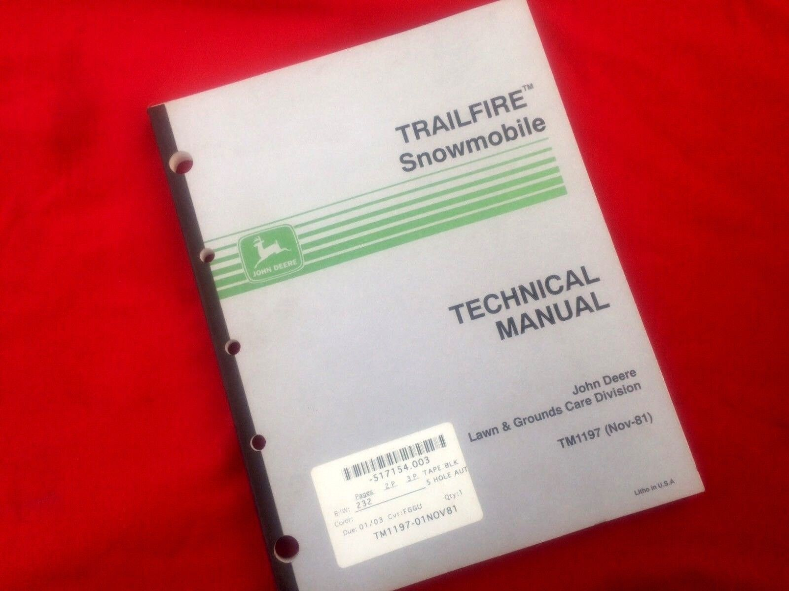 John  Deere Trailfire Snowmobile Technical Manual TM1197 (Nov-81)  welcome to choose