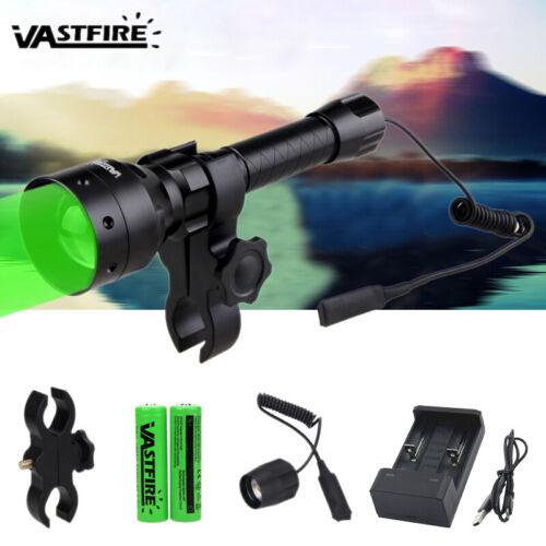 500 Yards Hunting LED Green Light Flashlight Night Spotlight Flashlight Torch US