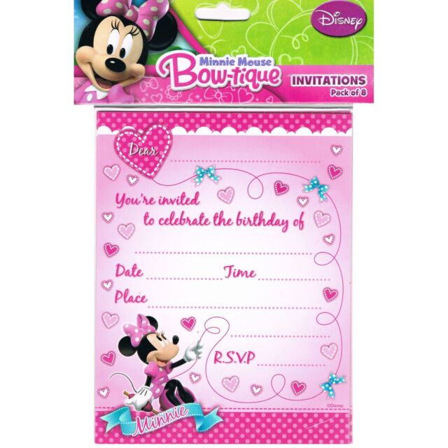 Minnie Mouse Invitations Girls Disney Pink Birthday Party Invite Pack of 8 New